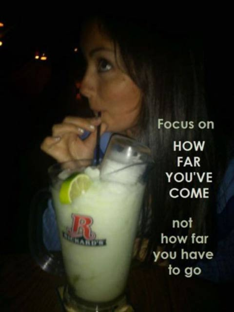 ... inspirational quotes with photos of people drinking? It would look
